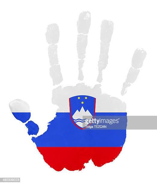 Handprints with Slovenia flag