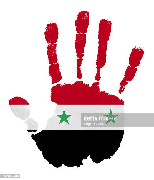 Handprints with Syria flag