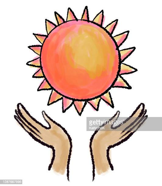 hands and sun drawing - kathrynsk stock illustrations