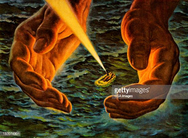hands around man in lifeboat - flashlight stock illustrations