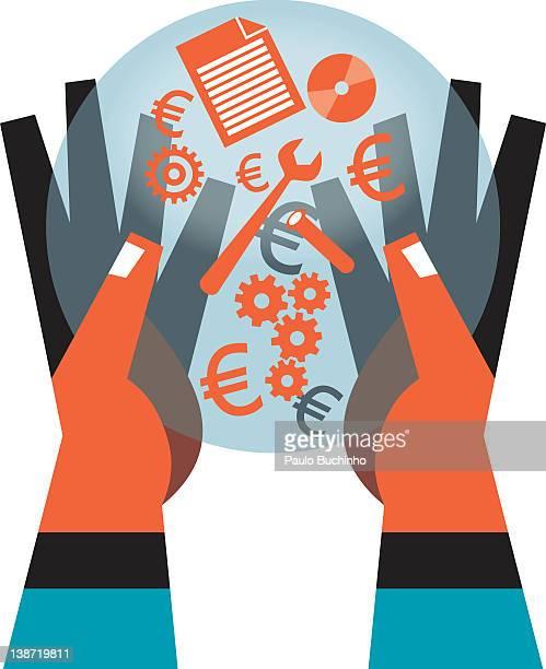 ilustrações de stock, clip art, desenhos animados e ícones de hands carrying symbols like a euro, wrench, gears, disc, paper, - buchinho