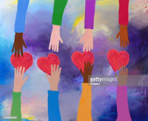 hands giving and receiving red hearts. concept of love and care. acrylic painting. - healthcare worker stock illustrations