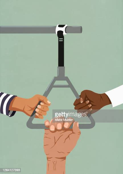 hands gripping hospital bed trapeze - the ageing process stock illustrations