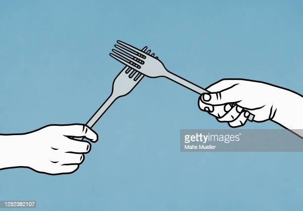 hands high-fiving forks - fork stock illustrations