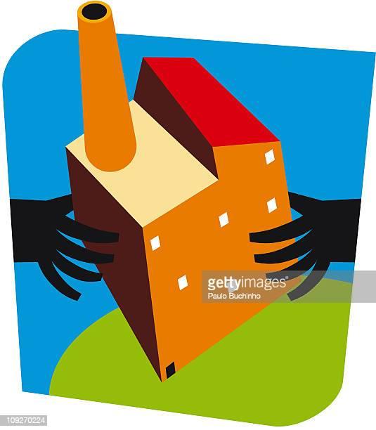 ilustrações de stock, clip art, desenhos animados e ícones de hands holding a building with a smoke stack on it - buchinho