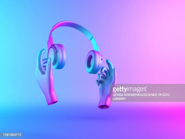 hands holding classic headphones, illustration - colour gradient stock illustrations