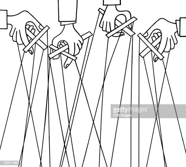 ilustraciones, imágenes clip art, dibujos animados e iconos de stock de manos sosteniendo marionettes - puppet