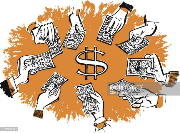 hands holding money - giving stock illustrations
