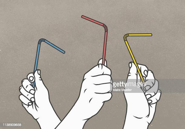 hands holding multicolor straws - three people stock illustrations