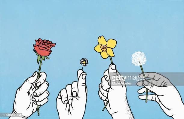 hands holding spring and summer flowers - day stock illustrations