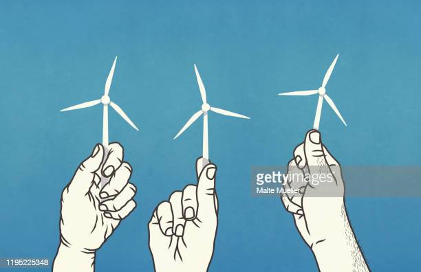 hands holding tiny wind turbines - touching stock illustrations