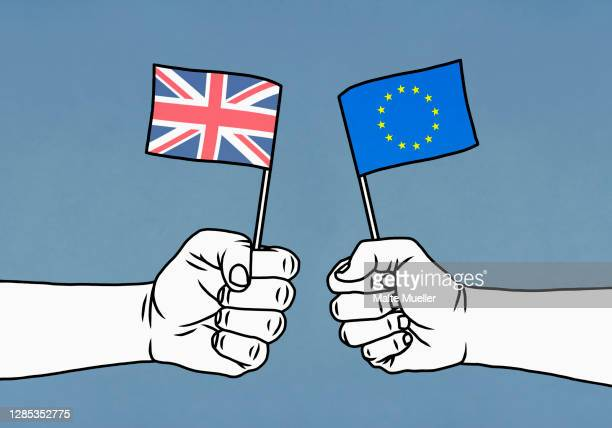 hands holding union jack and european union flags - all european flags stock illustrations