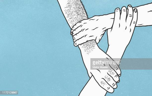 hands holding wrists in support - touching stock illustrations