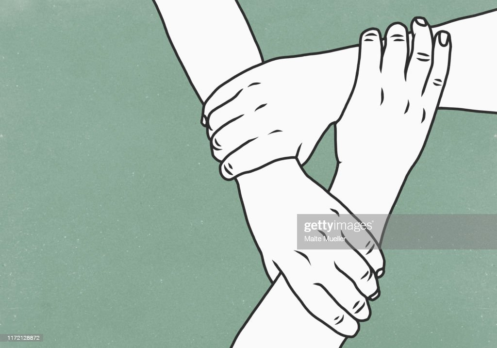 Hands holding wrists in support : Stock-Illustration