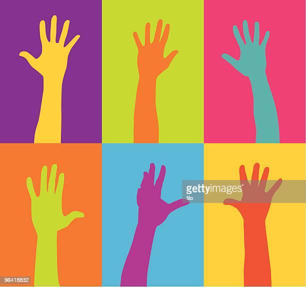 ilustraciones, imágenes clip art, dibujos animados e iconos de stock de las manos - grupo mediano de personas