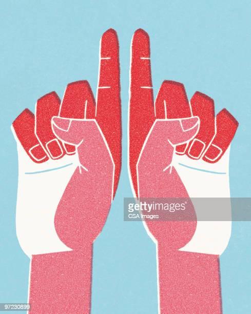 ilustrações, clipart, desenhos animados e ícones de hands - apontando sinal manual