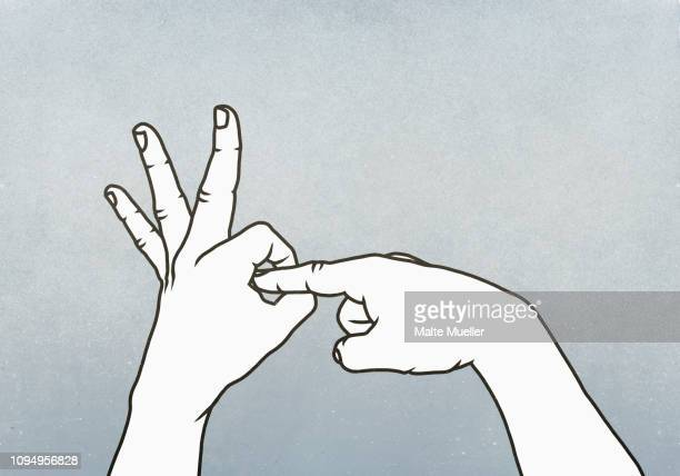 hands making obscene penetration gesture - sex stock illustrations, clip art, cartoons, & icons