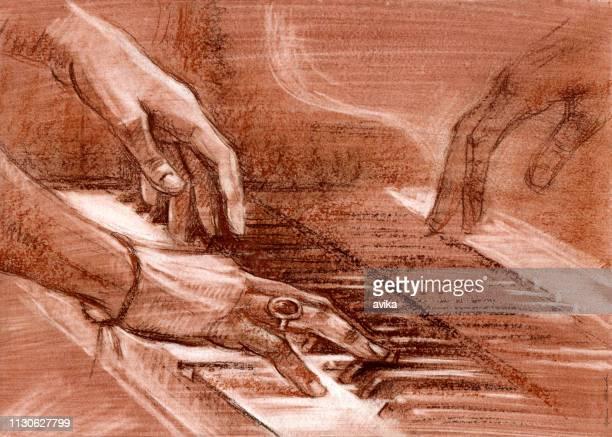 ピアノを弾くミュージシャンの手