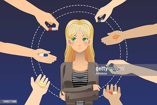 hands offering a woman different pills - medium group of objects stock illustrations, clip art, cartoons, & icons