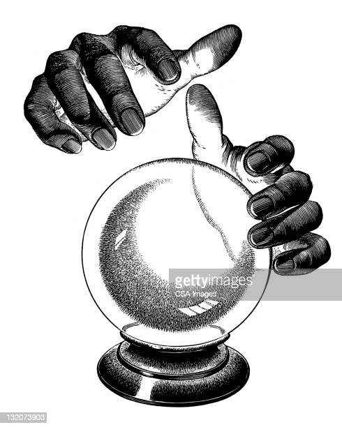 hands over crystal ball - magical equipment stock illustrations, clip art, cartoons, & icons