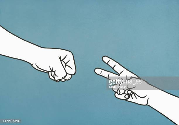 hands playing rock, paper, scissors - image technique stock illustrations