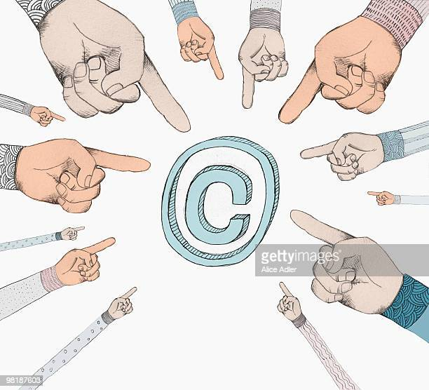 hands pointing to a copyright symbol - large group of people stock illustrations