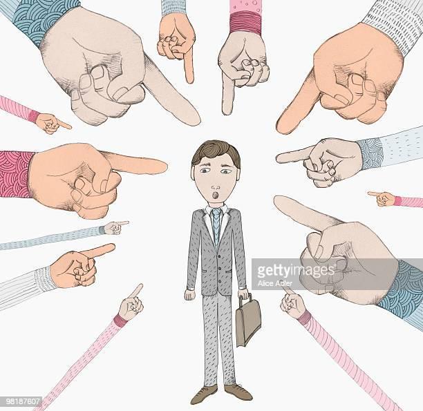 ilustraciones, imágenes clip art, dibujos animados e iconos de stock de hands pointing to a man - asumir la responsabilidad