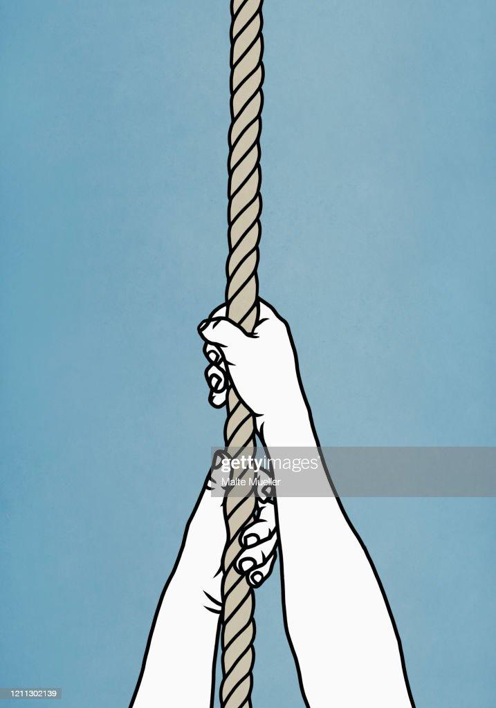 Hands pulling on rope : ストックイラストレーション