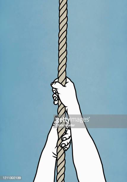 hands pulling on rope - opportunity stock illustrations
