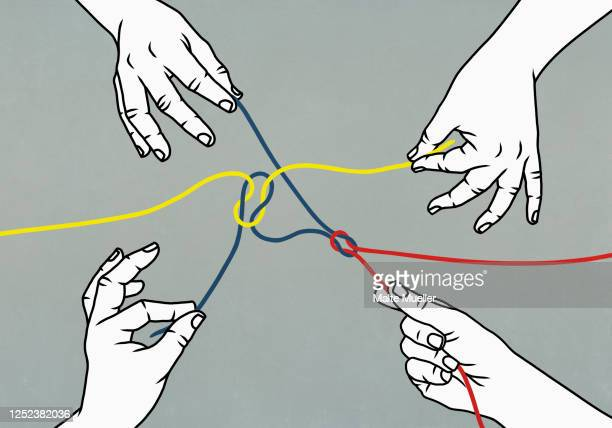 hands pulling tangled strings - condition stock illustrations