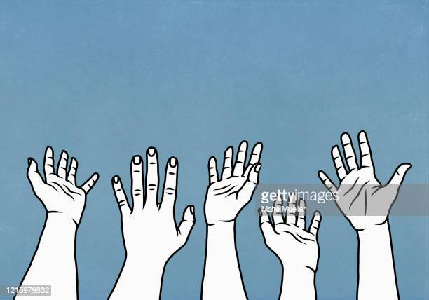 hands raised, reaching against blue background - illustration stock illustrations