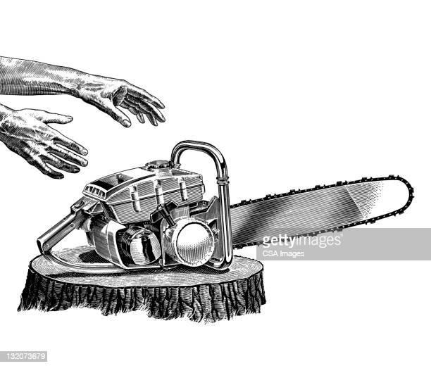 Illustrations et dessins anim s de bucheron getty images - Coloriage tronconneuse ...