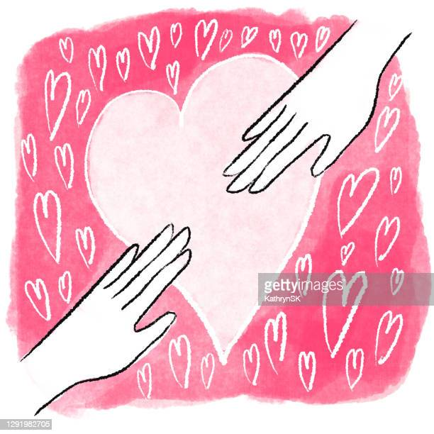 hands reaching for each other drawing - kathrynsk stock illustrations