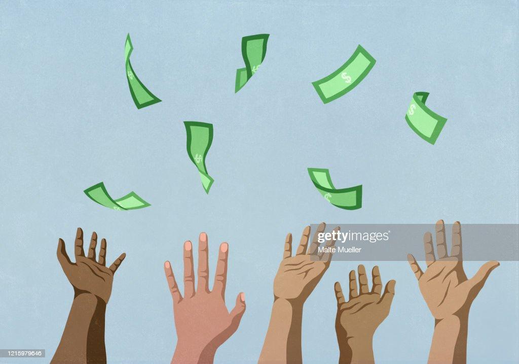 Hands reaching for falling money : stock illustration