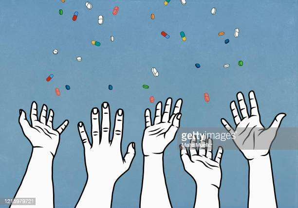 hands reaching for falling prescription medicine - paperwork stock illustrations