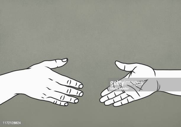 hands reaching for handshake - image technique stock illustrations
