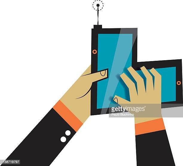 ilustrações de stock, clip art, desenhos animados e ícones de hands using a piece of technology - buchinho