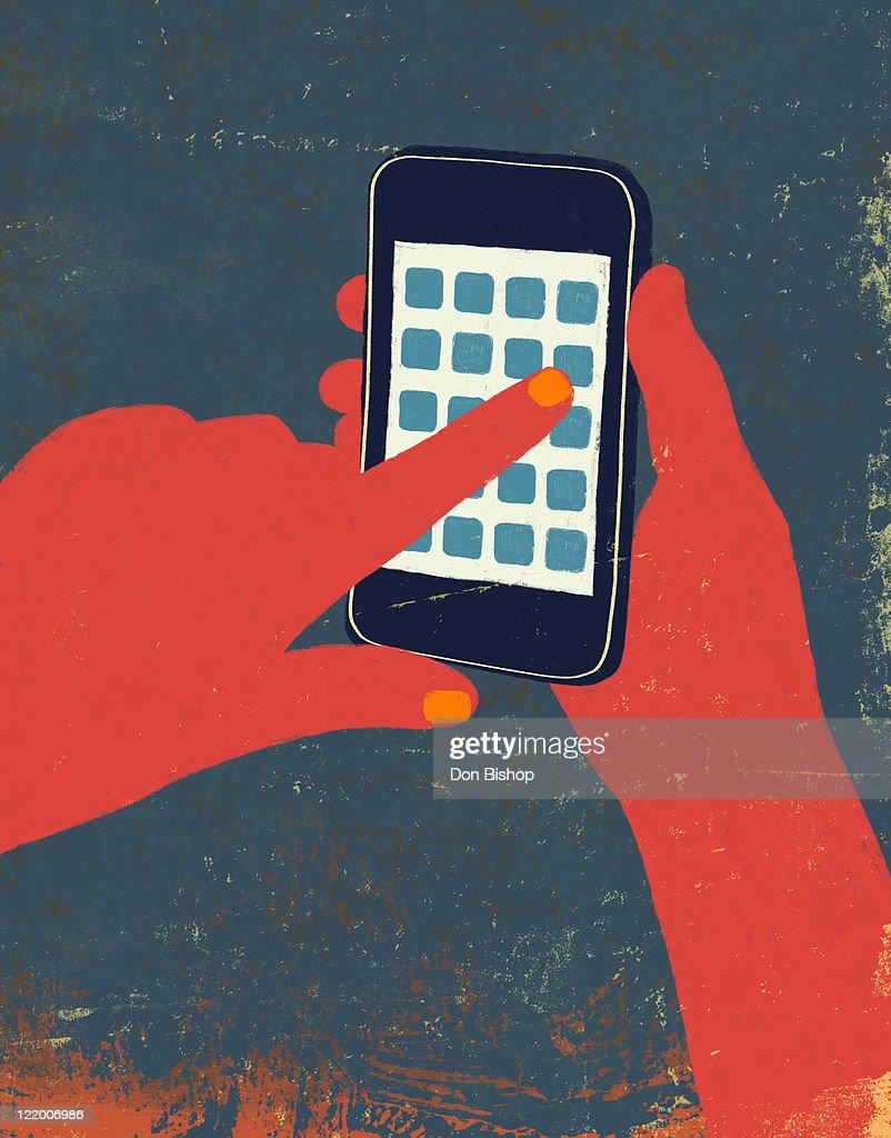 Hands using cellphone touch illustration : Ilustración de stock