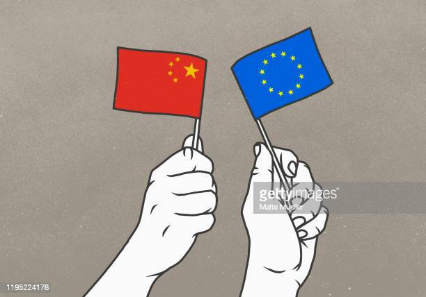 stockillustraties, clipart, cartoons en iconen met hands waving chinese and european union flags - diplomatie