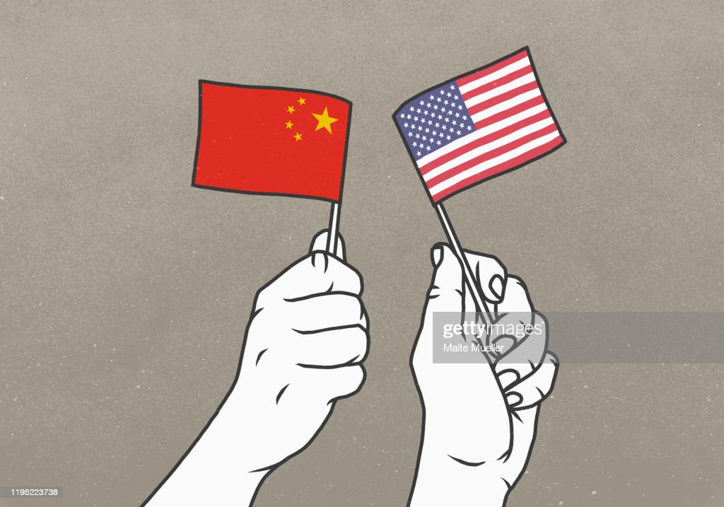 Hands waving small American and Chinese flags : Ilustración de stock