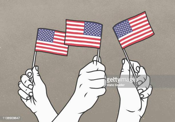 hands waving small american flags - three people stock illustrations
