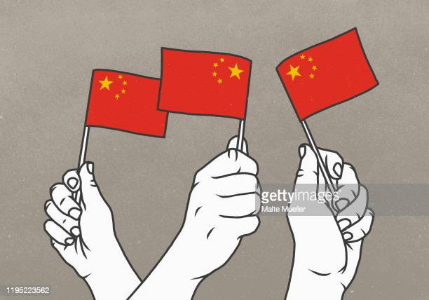 hands waving small chinese flags - national flag stock illustrations