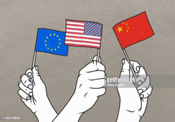 stockillustraties, clipart, cartoons en iconen met hands waving small european union, american and chinese flags - diplomatie
