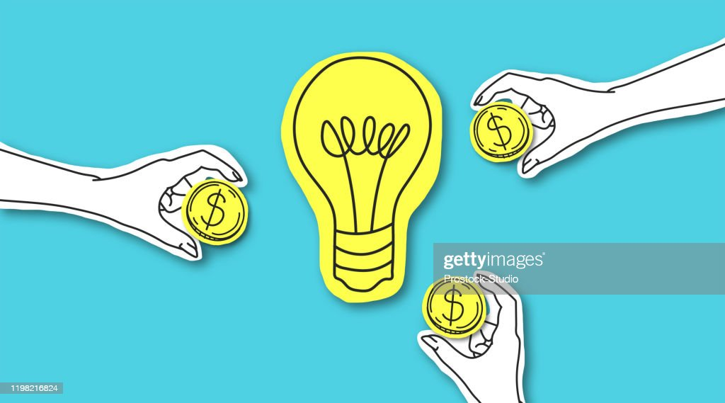 Hands with dollar sign coins around yellow light bulb : stock illustration