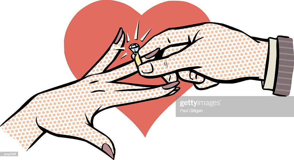 Hands with Engagement Ring : Stock Illustration