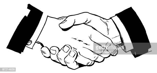 stockillustraties, clipart, cartoons en iconen met handshake - iemand een hand geven