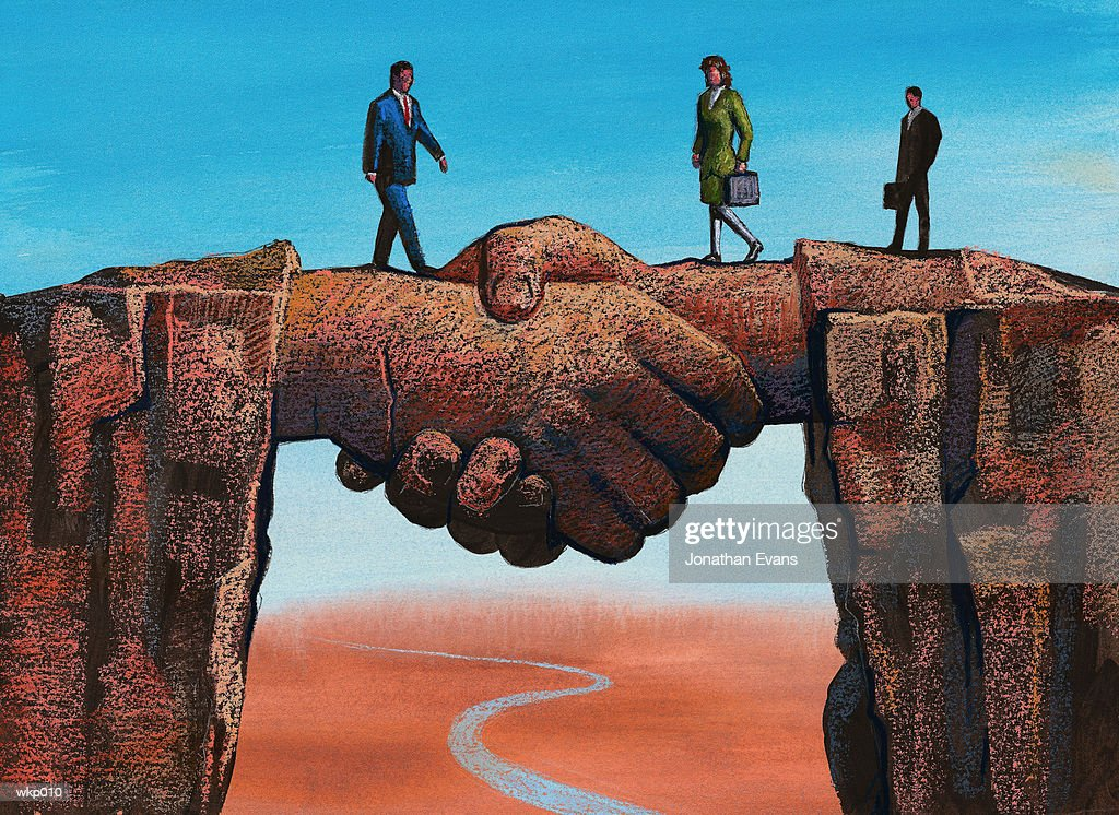 Handshake Spanning Chasm : Illustration