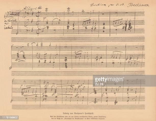 ilustraciones, imágenes clip art, dibujos animados e iconos de stock de manuscrito escrito a mano por ludwig van beethoven, facsímil, publicado en 1885 - ludwig van beethoven