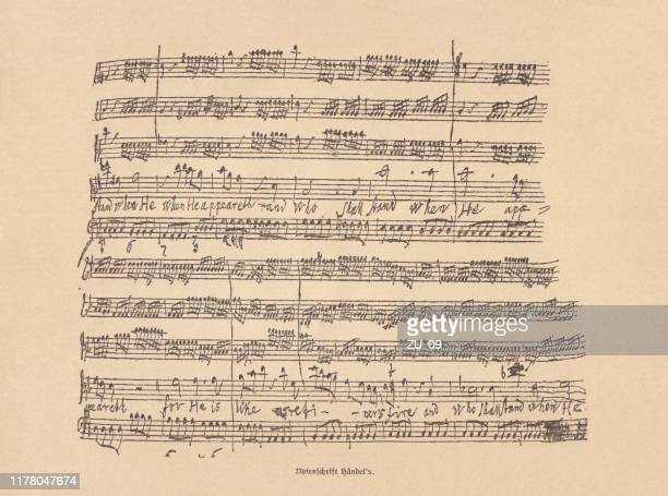 ジョージ・フリデリック・ヘンデルによる手書きの楽譜、ファクシミリ、1885年出版 - ジョージ ヘンデル点のイラスト素材/クリップアート素材/マンガ素材/アイコン素材