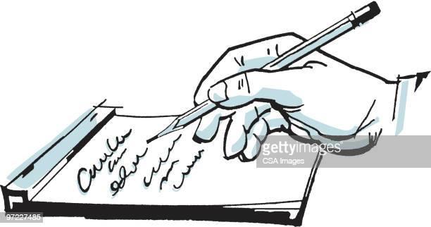 handwritten note - report stock illustrations